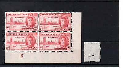 NTH RHODESIA - (04) 1946 - GEORGE V1 - 2d Victory - control block of 4 - MINT