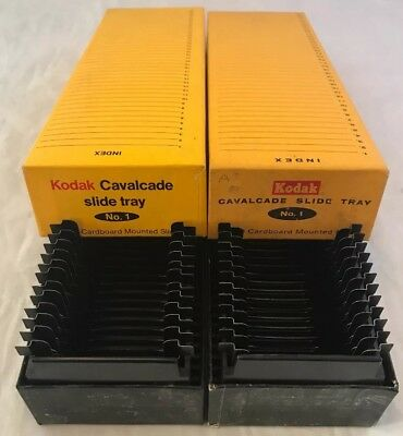 2x Kodak Cavalcade Projector Slide Tray No.1 Boxed & Slide Holders, Multiple Qty