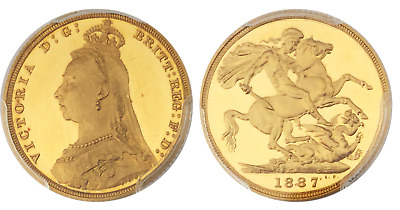 1887 Great Britain Victoria Gold Proof Sovereign Pcgs Pr63+ Deep Cameo