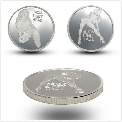 Heads Tails Sexy Lady Commemorative Challenge Coin Collection Silver Plated HM