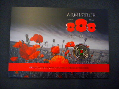 2018 New Zealand 50c 'Armistice Day carded Colored Coin