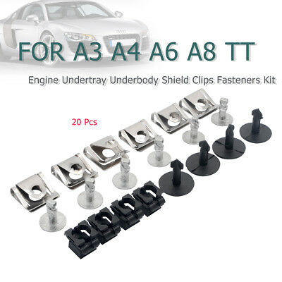 20PCS Engine Undertray Underbody Shield Clips Fasteners Kit For Audi A3 A4 A6 TT