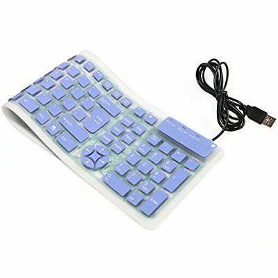 CHINFAI Portable Wired USB Keyboard Silicone Silent Waterproof Keyboards for PC,