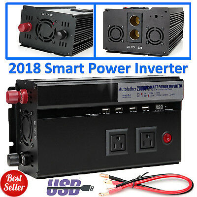 Portable Car RV Power Inverter 2000/4000Watt DC 12V to AC 110V Charger Converter
