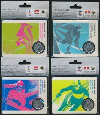 Canada 2010 25c Olympic Winter Games 4 Coin Sports Card Set