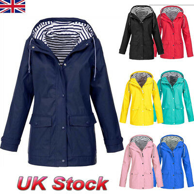 Plus Womens Long Sleeve Hooded Windproof Jacket Ladies Winter Waterproof Coat UK