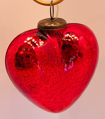 """Beautiful 5"""" Class Red Heart with Crackle Finish-Holiday!"""
