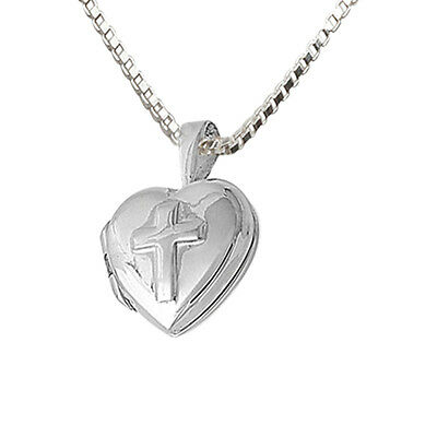 Heart Locket with  Embossed Cross Necklace Sterling Silver-By Cherished Moments