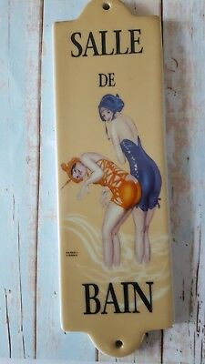 "Wonderful Vintage 1920's Style French Sign ""salle De Bain"" Bathroom Door Or Wall"