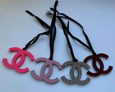 CHANEL VIP GIFT logo charm set 4x striped pink pale pink bourgundy NEW RARE