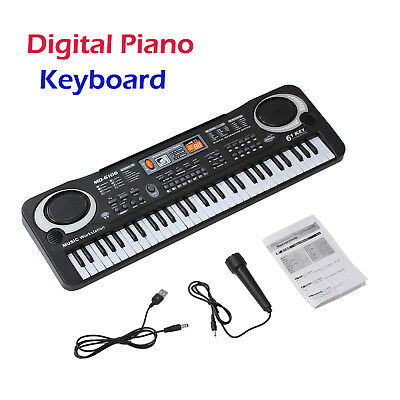 Music Electronic Keyboard Electric Digital Piano Organ with Microphone 61 Keys
