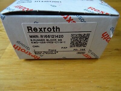 New Rexroth R166121420 Linear Rail Bearing Blocks / Runner Block / Ball Rail