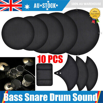 10pcs Bass Snare Drums Mute Silencer Drumming Practice Pad Set Cymbal Soundoff