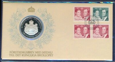 Sweden 1976 PNC Medallion with Preliminary Letter to the Royal Brollopet