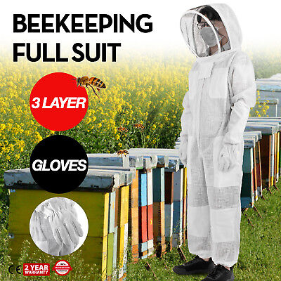 3 Layers Beekeeping Full Suit Astronaut Veil W/ Gloves Cargo Pocket White Nylon
