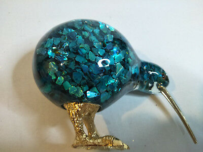 Vintage Solid Coloured Glass Kiwi Bird Ornament