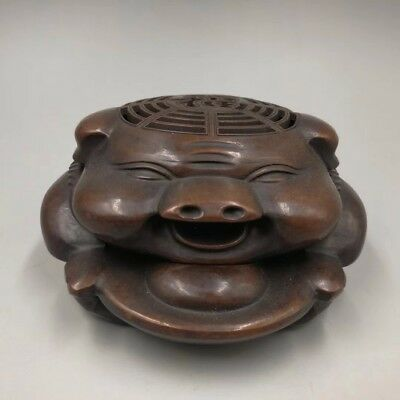 Chinese Antique Old red bronze sculpture lucky pig Incense burner Home   c