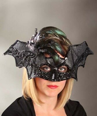 Bethany Lowe Halloween Black Bat Mask With Spider Brand New