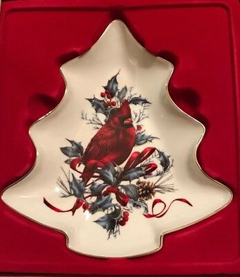 "Lenox - Winter Greetings - ""CARDINAL CHRISTMAS TREE SHAPE CANDY DISH""."
