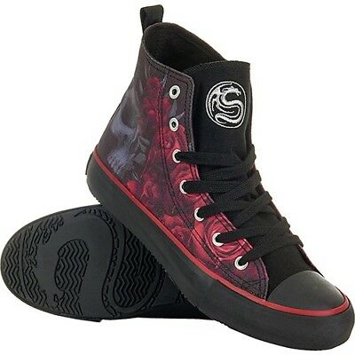 Spiral Direct BLOOD ROSE Sneakers Ladies High Top Lace up Skull sneakers