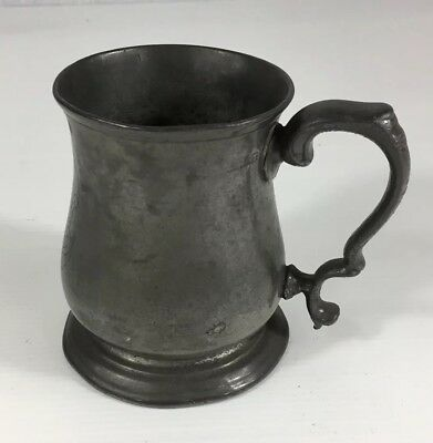 Antique Pewter 1/2 (half) Pint Measure Tankard Initialed. 10cm In Height