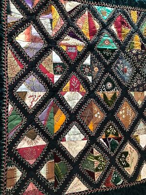 "Antique Victorian CRAZY QUILT Silk Satin Velvet Embroidery 61 x 53"" circa 1880s"