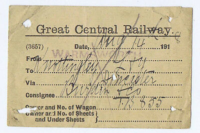 GREAT CENTRAL RAILWAY Wagon Label from Warmsworth 1918