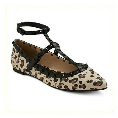 f642b66a2b6 Betseyville By Betsey Johnson Leopard Print Flats With Straps Women Size  7.5 New