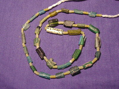 Ancient Roman C.200 BC Glass Fragment Beads STrand NO RESERVE AUCTION ###B5261##