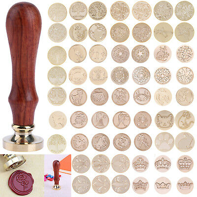 Vintage Sealing Wax Stamps Candles Wood Handle Wedding Invitation Card Envelope