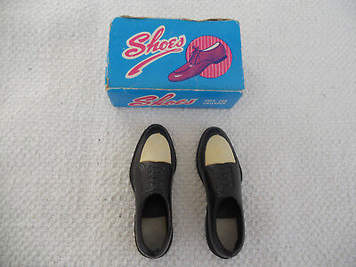 Vtg Miniature Salesman Sample Plastic Men's Black/White Shoes Hong Kong w/ box