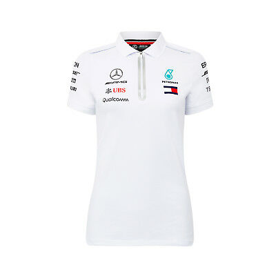 Damen Polo Shirt Weiß Mercedes AMG Petronas F1 Team 2018 XS