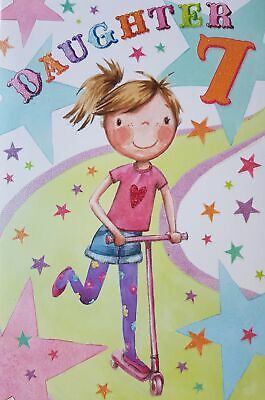 Daughter 7th Seven 7 Happy Birthday Girl Scooter Design Card With A