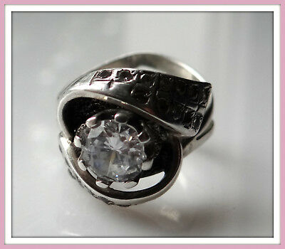 Bilateral Retro Vintage Sterling SILVER 925 ring Sz 8 Cubic Zirconia two-sides