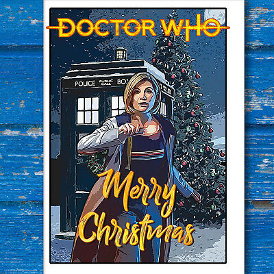 Doctor Who Christmas Card with Jodie Whittaker the 13th Doctor and the Tardis