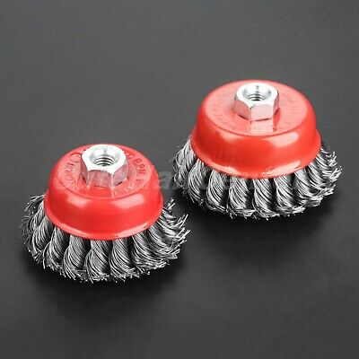 """2.5/3"""" Steel Wire Twist Knot Cup Brush Wheel Metal Polishing For Angle Grinder"""