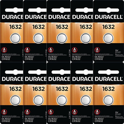 10 Pcs Duracell 1632 DL1632 CR1632 3V Lithium Coin Battery