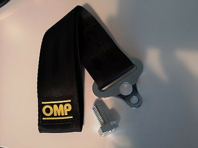 "Black OMP RACING 2""  TOW HOOK STRAP or DOOR STRAP PULL - FIA RACE APPROVED"