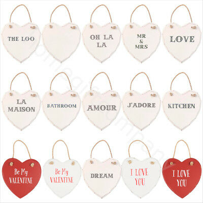 Large Wooden Hanging Hearts Vintage Shabby Chic Wall Plaque Home Decoration Gift