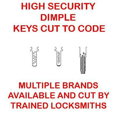 3 x High Security Dimple Keys Cut to Code by Trained Professional Locksmiths
