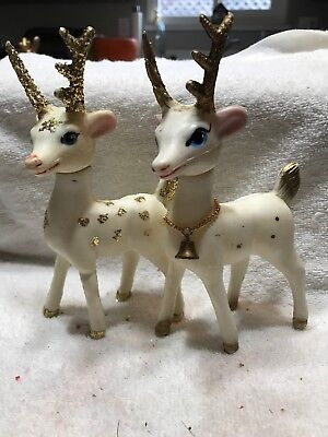 Vintage Soft White Plastic Christmas Reindeer Lot 2 Hong Kong 63Y