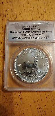 South Africa - 2017 1 oz Silver Krugerrand ANACS SP70 First Day Issue NO RESERVE