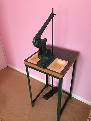 British Made Cast Iron Eyelet Press And Table