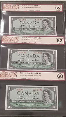 Bank of Canada 1954 $1 Devils Face 3 x Consecutive Bank Notes BCS Choice CUnc 62