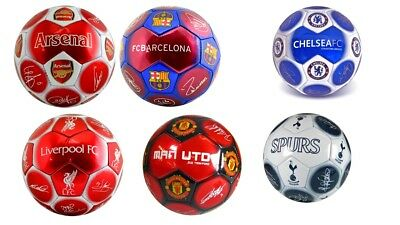 Football Club Footballs Size 5 Signature Arsenal Barcelona Chelsea Red Silver