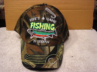 Fish Fishing Lifes A Game Fishing Is Serious Baseball Cap Hat ( Camouflage )