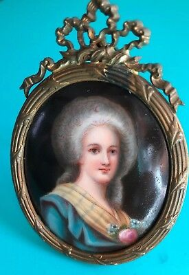 Antique Miniature Portrait Painting On Porcelain In French Bronze Ribbon Frame