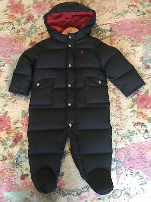 Baby Boys Ralph Lauren All In One Down Jacket Age 9/12 Months Snowsuit