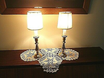 Pair Virginia Metalcrafters candlstick night stands table lamps with shades