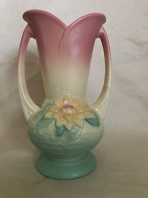 Vintage Hull Pottery Waterlily Two Handled Vase 9 12 Pink Green